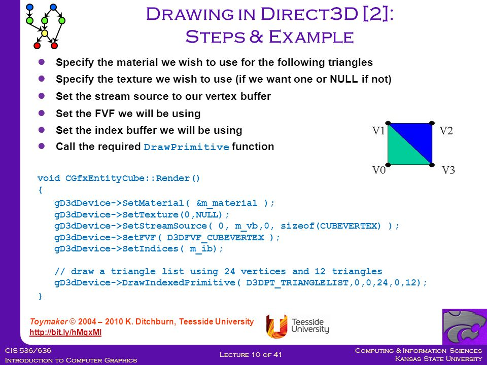 Computing & Information Sciences Kansas State University CIS 536/636 Introduction to Computer Graphics Lecture 10 of 41 Drawing in Direct3D [2]: Steps & Example Toymaker © 2004 – 2010 K.