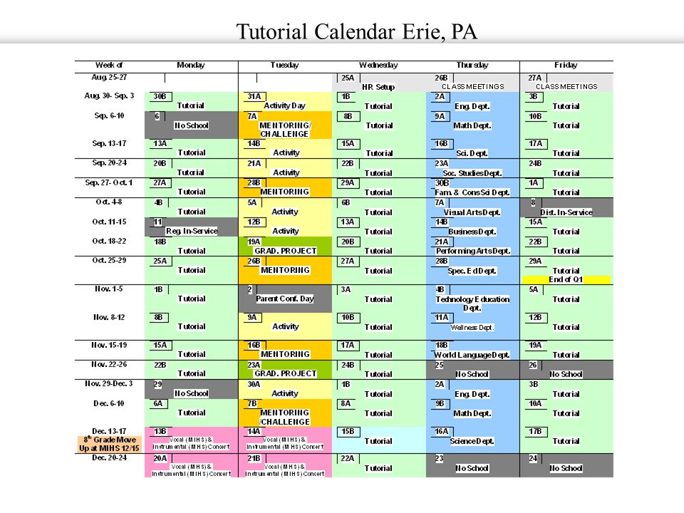 Tutorial Calendar Erie, PA