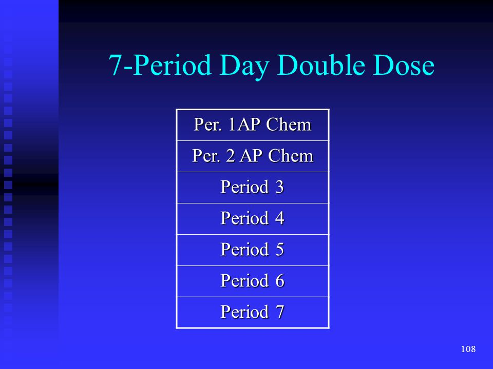108 7-Period Day Double Dose Per. 1AP Chem Per.