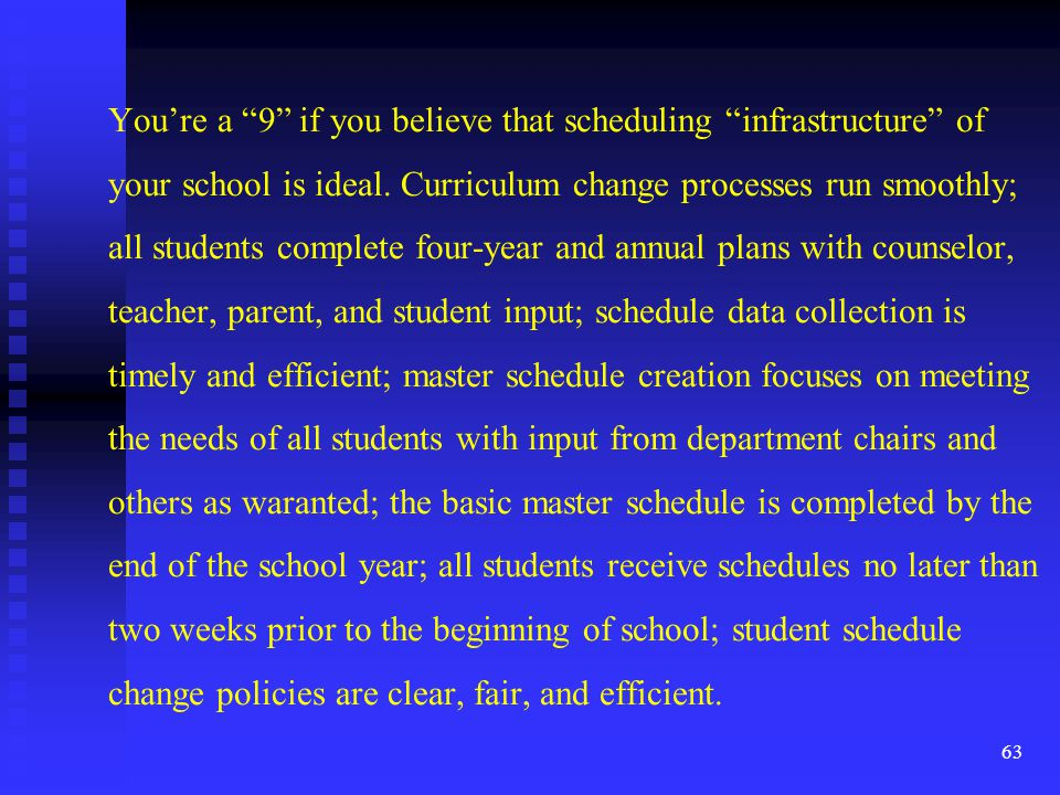 You're a 9 if you believe that scheduling infrastructure of your school is ideal.