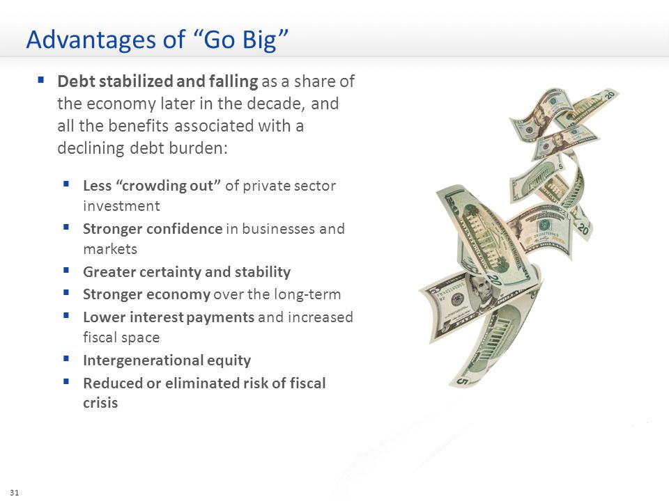 Advantages of Go Big  Debt stabilized and falling as a share of the economy later in the decade, and all the benefits associated with a declining debt burden:  Less crowding out of private sector investment  Stronger confidence in businesses and markets  Greater certainty and stability  Stronger economy over the long-term  Lower interest payments and increased fiscal space  Intergenerational equity  Reduced or eliminated risk of fiscal crisis 31