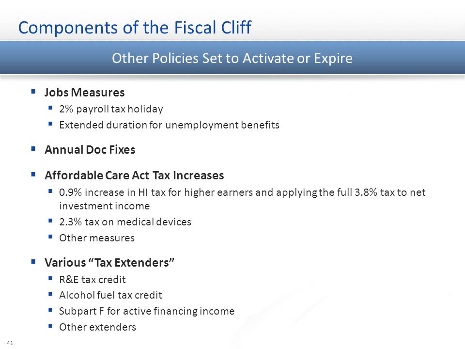 Components of the Fiscal Cliff 41 Other Policies Set to Activate or Expire  Jobs Measures  2% payroll tax holiday  Extended duration for unemployment benefits  Annual Doc Fixes  Affordable Care Act Tax Increases  0.9% increase in HI tax for higher earners and applying the full 3.8% tax to net investment income  2.3% tax on medical devices  Other measures  Various Tax Extenders  R&E tax credit  Alcohol fuel tax credit  Subpart F for active financing income  Other extenders