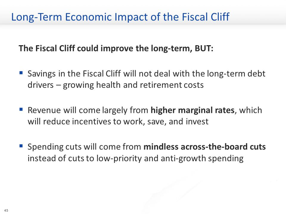 Long-Term Economic Impact of the Fiscal Cliff The Fiscal Cliff could improve the long-term, BUT:  Savings in the Fiscal Cliff will not deal with the long-term debt drivers – growing health and retirement costs  Revenue will come largely from higher marginal rates, which will reduce incentives to work, save, and invest  Spending cuts will come from mindless across-the-board cuts instead of cuts to low-priority and anti-growth spending 45