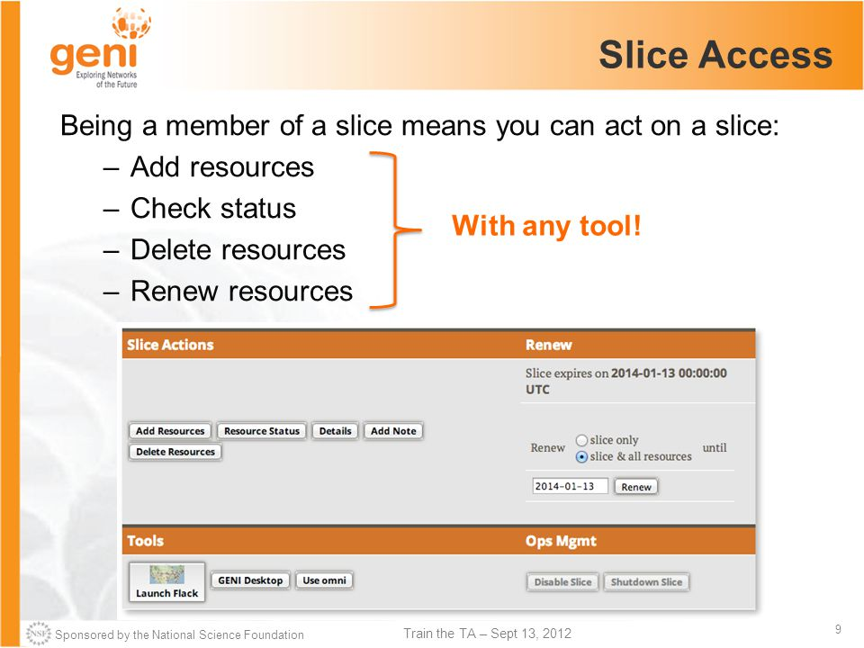 Sponsored by the National Science Foundation 9 Train the TA – Sept 13, 2012 Slice Access Being a member of a slice means you can act on a slice: –Add resources –Check status –Delete resources –Renew resources With any tool!