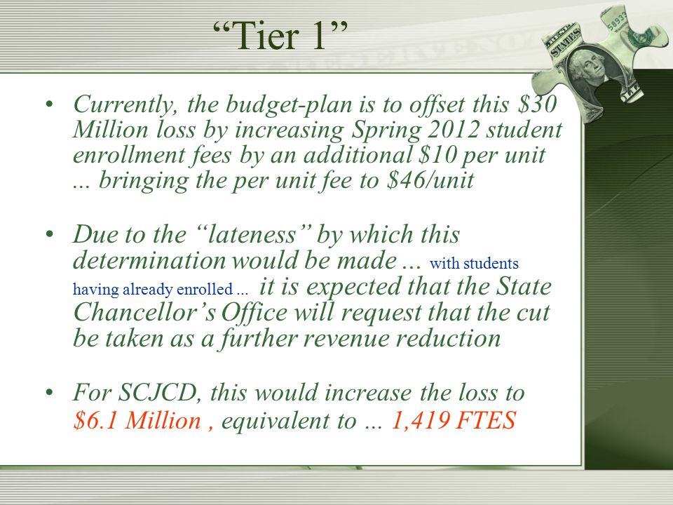 Tier 1 Currently, the budget-plan is to offset this $30 Million loss by increasing Spring 2012 student enrollment fees by an additional $10 per unit...