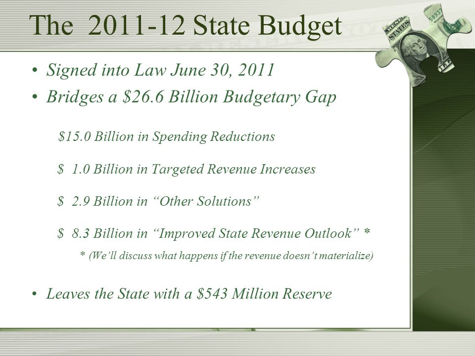 The 2011-12 State Budget Signed into Law June 30, 2011 Bridges a $26.6 Billion Budgetary Gap $15.0 Billion in Spending Reductions $ 1.0 Billion in Targeted Revenue Increases $ 2.9 Billion in Other Solutions $ 8.3 Billion in Improved State Revenue Outlook * * (We'll discuss what happens if the revenue doesn't materialize) Leaves the State with a $543 Million Reserve