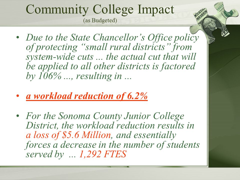 Community College Impact (as Budgeted) Due to the State Chancellor's Office policy of protecting small rural districts from system-wide cuts...