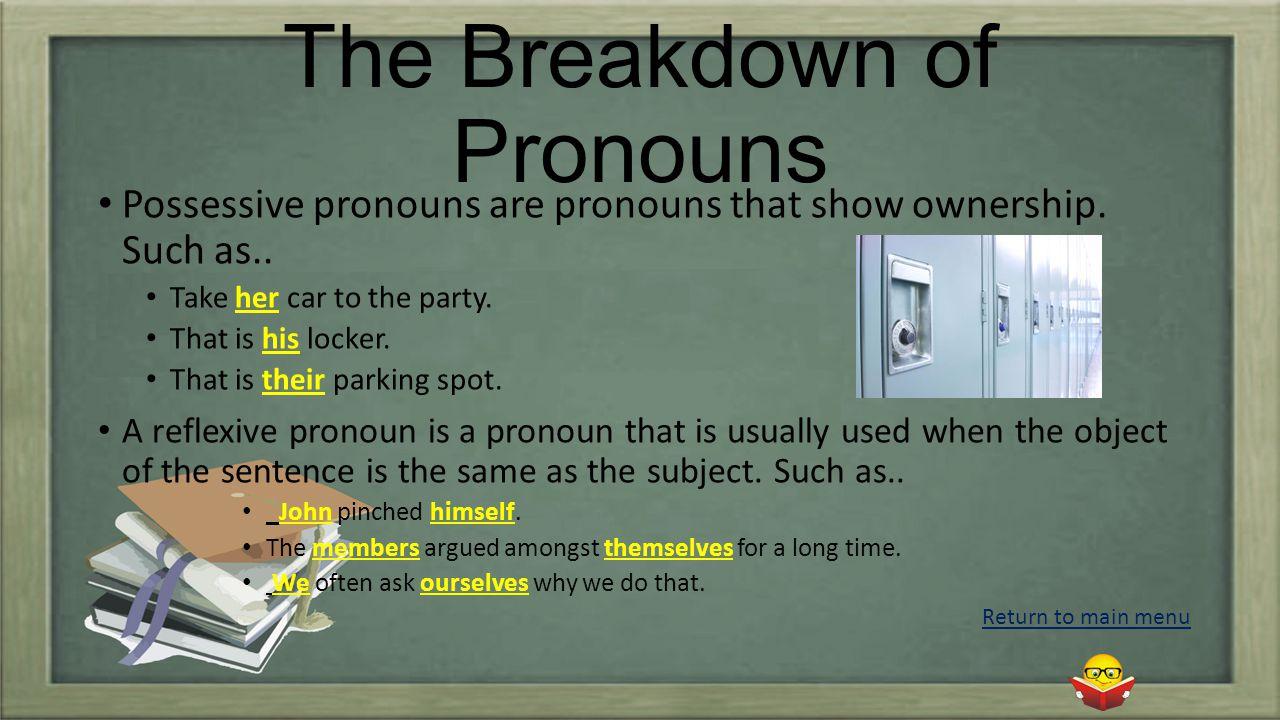 The Breakdown of Pronouns Possessive pronouns are pronouns that show ownership.