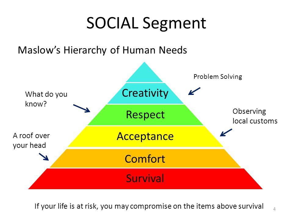 SOCIAL Segment Maslow's Hierarchy of Human Needs Creativity Respect Acceptance Comfort Survival If your life is at risk, you may compromise on the items above survival A roof over your head Observing local customs What do you know.
