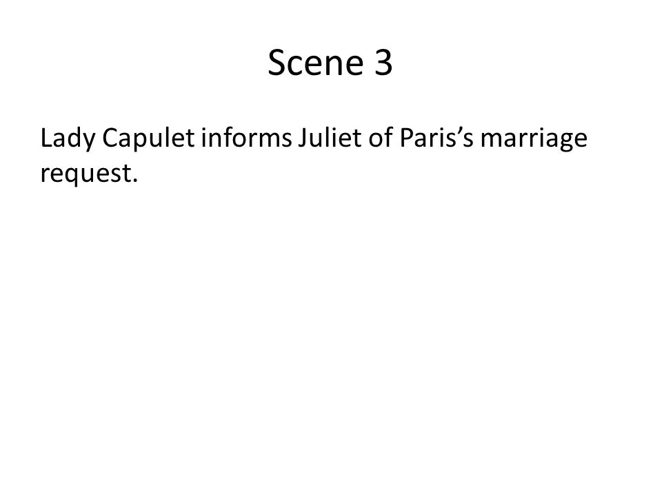 Scene 3 Lady Capulet informs Juliet of Paris's marriage request.