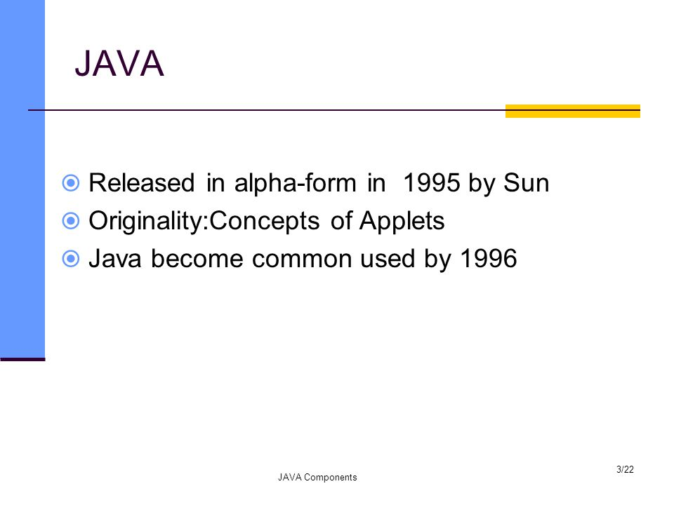JAVA  Released in alpha-form in 1995 by Sun  Originality:Concepts of Applets  Java become common used by 1996 JAVA Components 3/22