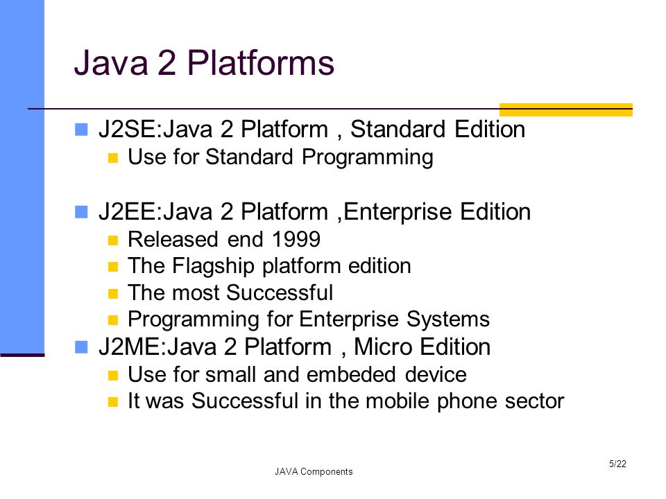 Java 2 Platforms J2SE:Java 2 Platform, Standard Edition Use for Standard Programming J2EE:Java 2 Platform,Enterprise Edition Released end 1999 The Flagship platform edition The most Successful Programming for Enterprise Systems J2ME:Java 2 Platform, Micro Edition Use for small and embeded device It was Successful in the mobile phone sector JAVA Components 5/22