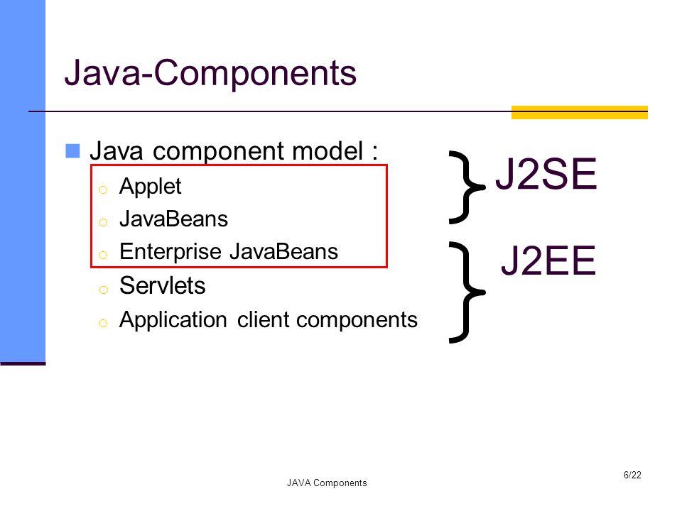 Java-Components Java component model : o Applet o JavaBeans o Enterprise JavaBeans o Servlets o Application client components JAVA Components 6/22 J2SE J2EE