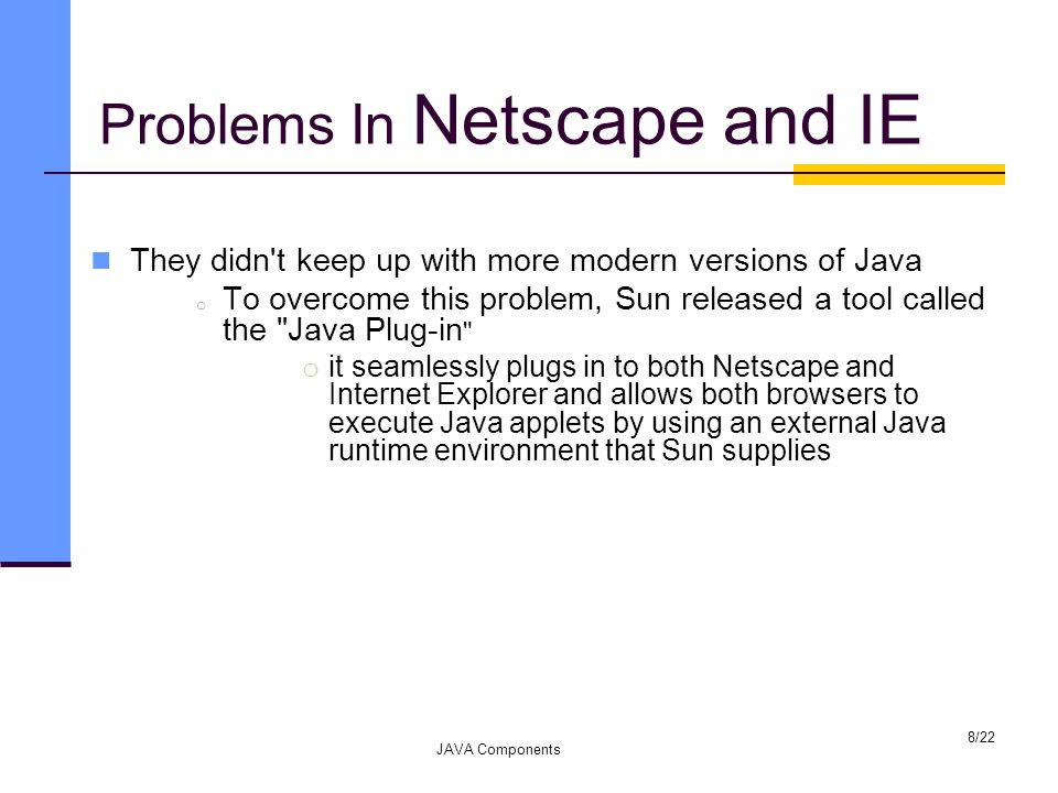 Problems In Netscape and IE They didn t keep up with more modern versions of Java o To overcome this problem, Sun released a tool called the Java Plug-in o it seamlessly plugs in to both Netscape and Internet Explorer and allows both browsers to execute Java applets by using an external Java runtime environment that Sun supplies JAVA Components 8/22