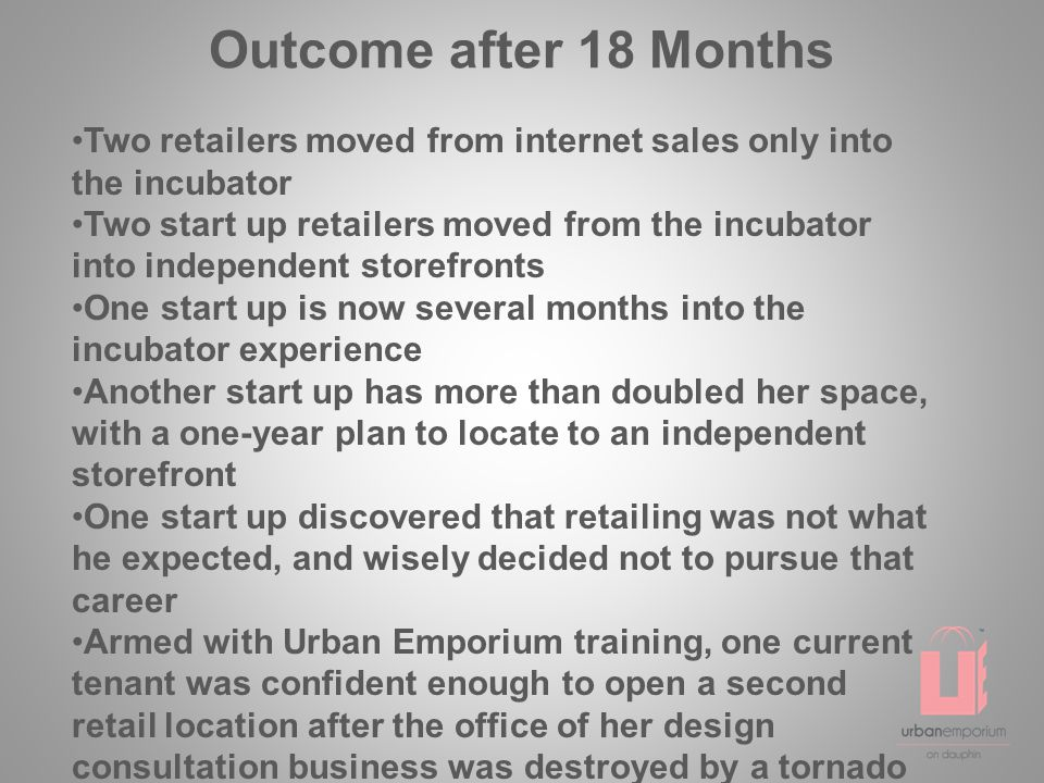Outcome after 18 Months Two retailers moved from internet sales only into the incubator Two start up retailers moved from the incubator into independent storefronts One start up is now several months into the incubator experience Another start up has more than doubled her space, with a one-year plan to locate to an independent storefront One start up discovered that retailing was not what he expected, and wisely decided not to pursue that career Armed with Urban Emporium training, one current tenant was confident enough to open a second retail location after the office of her design consultation business was destroyed by a tornado