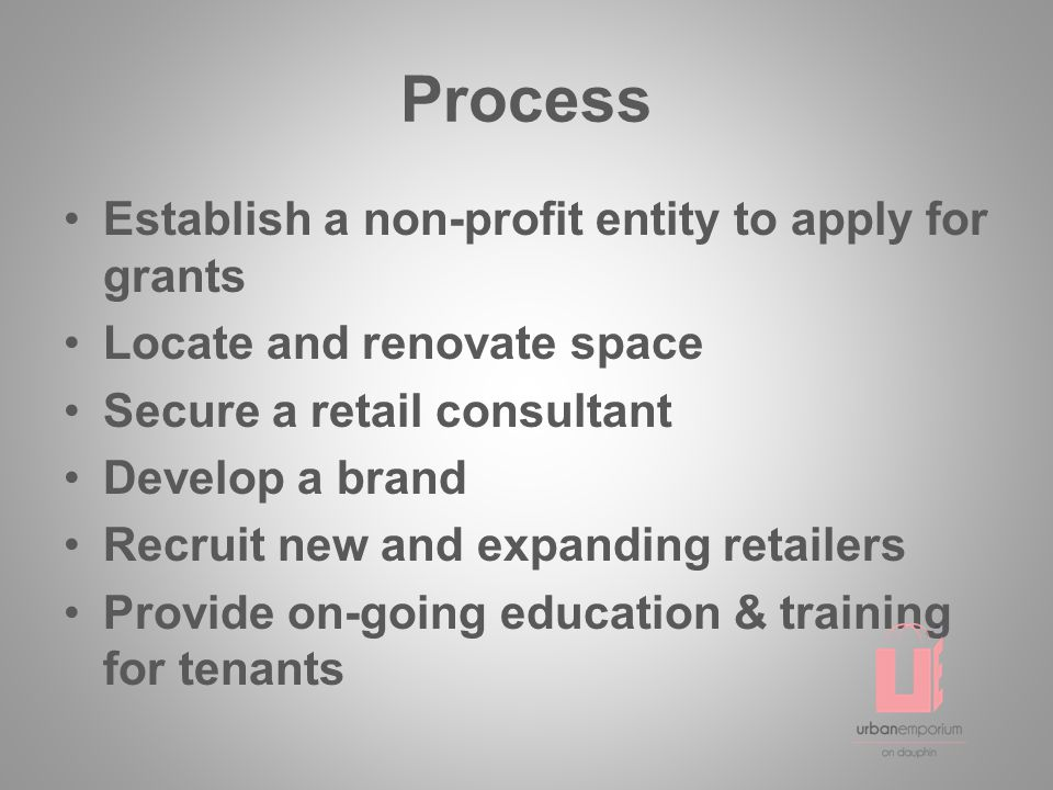 Process Establish a non-profit entity to apply for grants Locate and renovate space Secure a retail consultant Develop a brand Recruit new and expanding retailers Provide on-going education & training for tenants