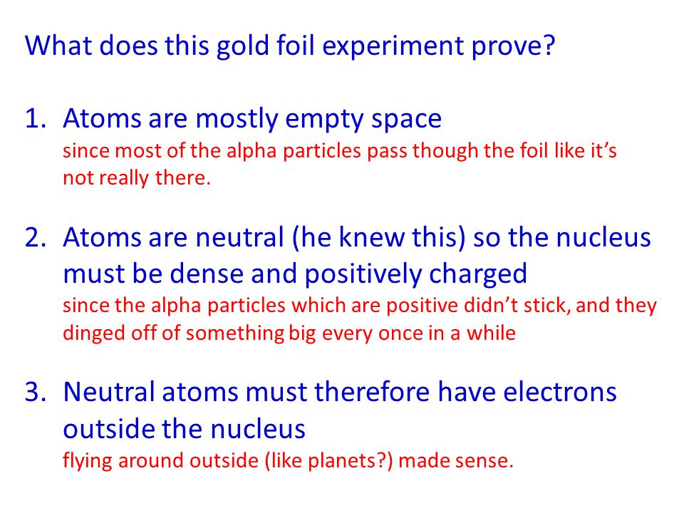 What does this gold foil experiment prove? 1.Atoms are mostly empty space since most of the alpha particles pass though the foil like it's not really