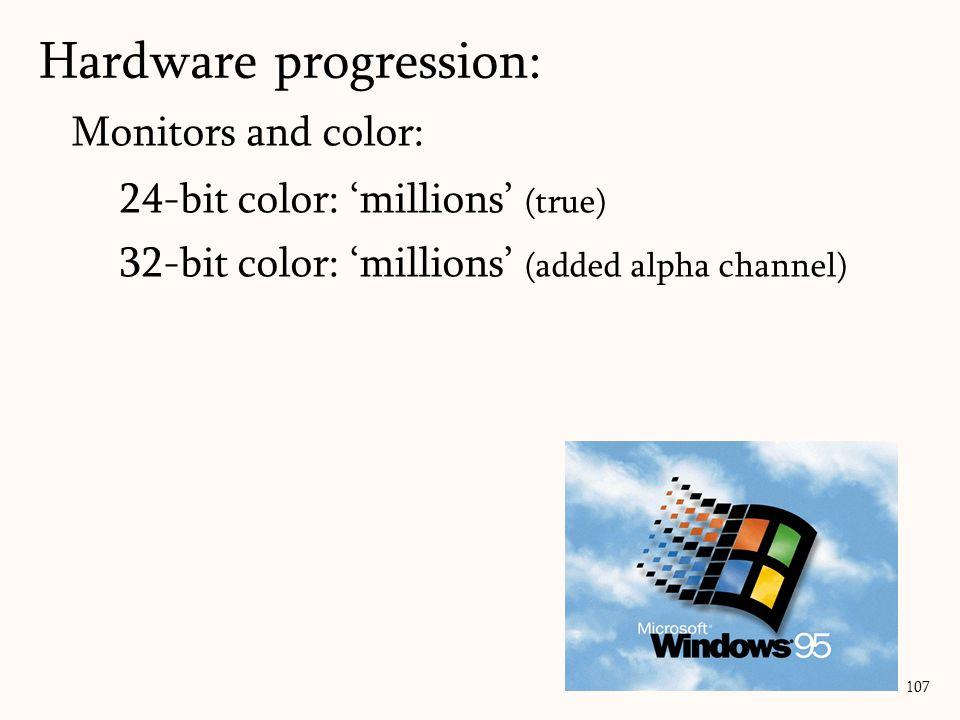 Monitors and color: 24-bit color: 'millions' (true) 32-bit color: 'millions' (added alpha channel) 107 Hardware progression: