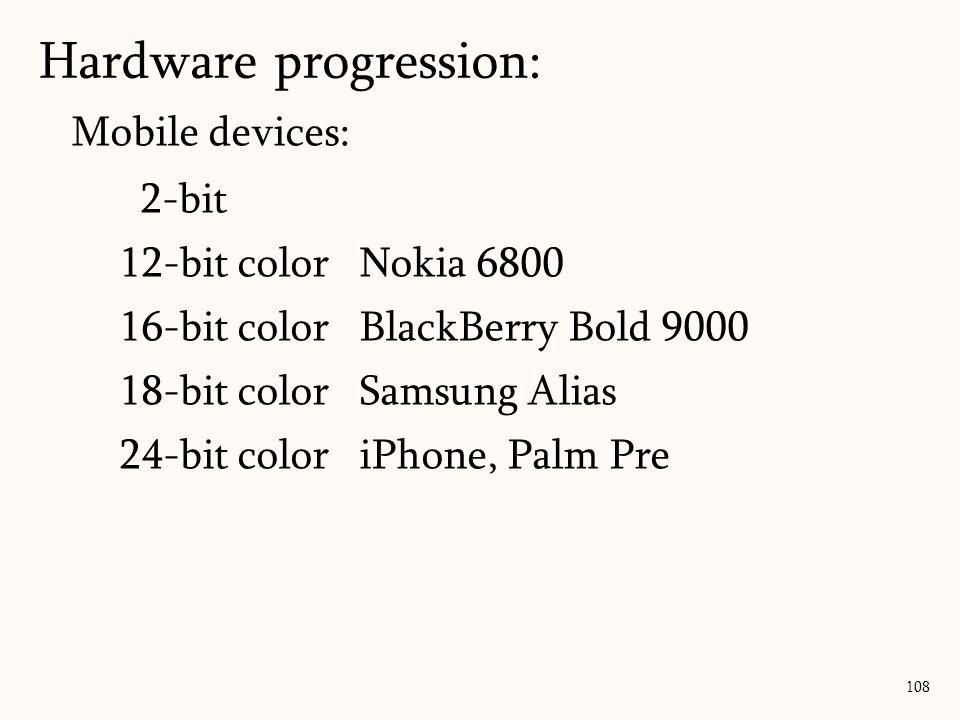 Mobile devices: 2-bit 12-bit colorNokia 6800 16-bit colorBlackBerry Bold 9000 18-bit colorSamsung Alias 24-bit coloriPhone, Palm Pre 108 Hardware progression:
