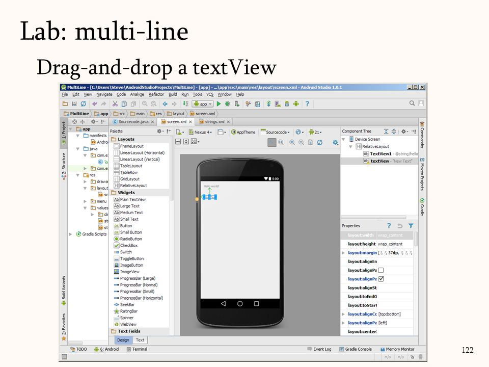 Lab: multi-line 122 Drag-and-drop a textView