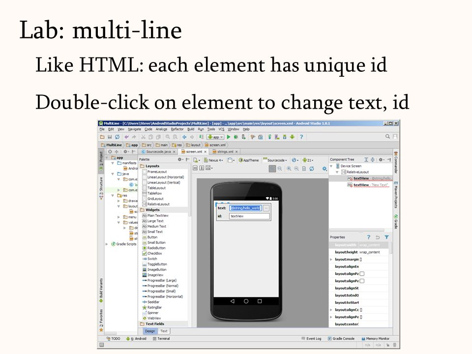 Like HTML: each element has unique id Double-click on element to change text, id Lab: multi-line