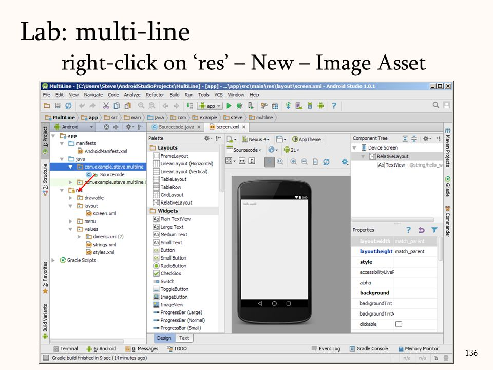 136 Lab: multi-line right-click on 'res' – New – Image Asset