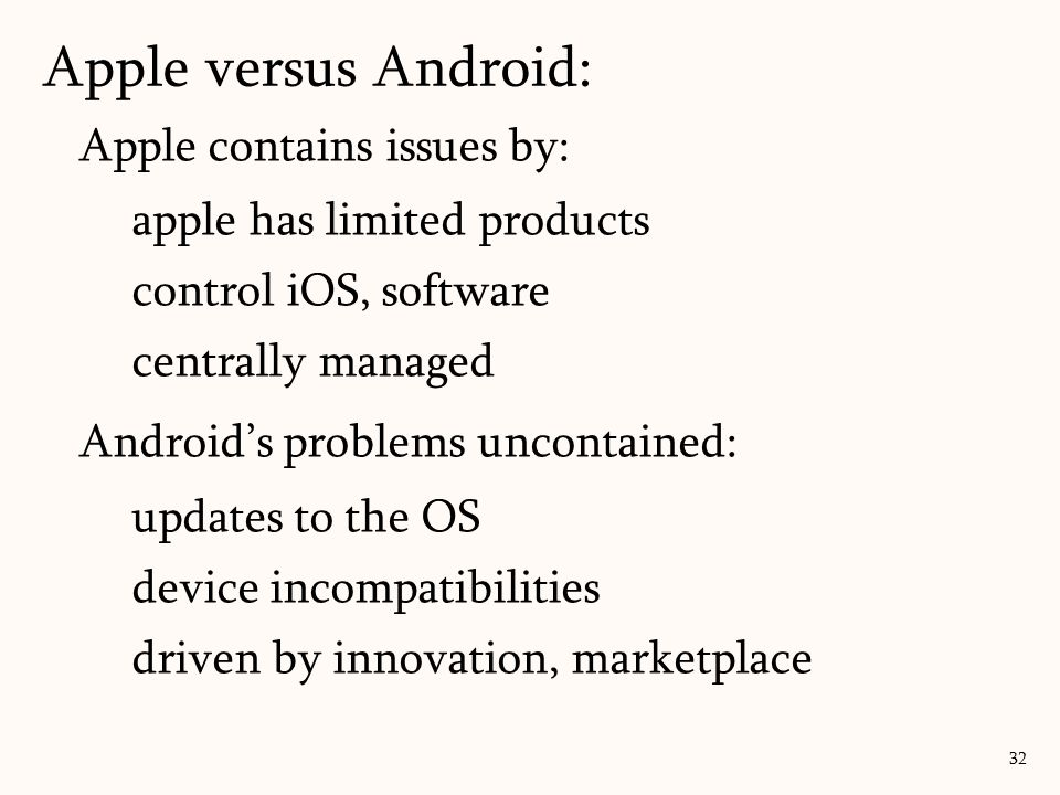 Apple contains issues by: apple has limited products control iOS, software centrally managed Android's problems uncontained: updates to the OS device incompatibilities driven by innovation, marketplace 32 Apple versus Android: