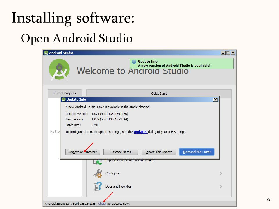 Open Android Studio Installing software: 55