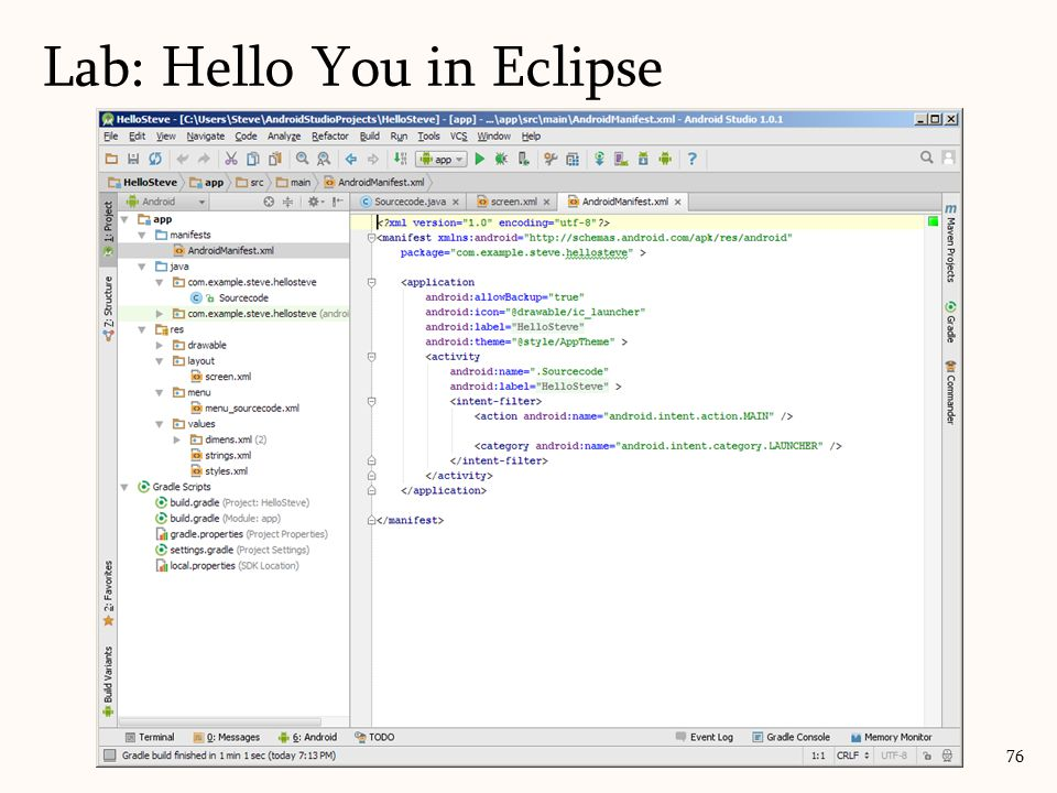 76 Lab: Hello You in Eclipse