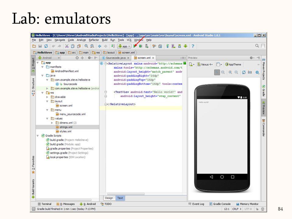 84 Lab: emulators