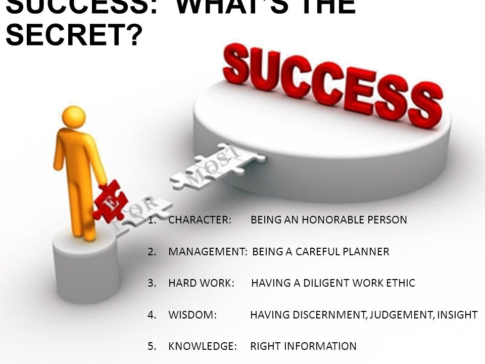 SUCCESS: WHAT'S THE SECRET.