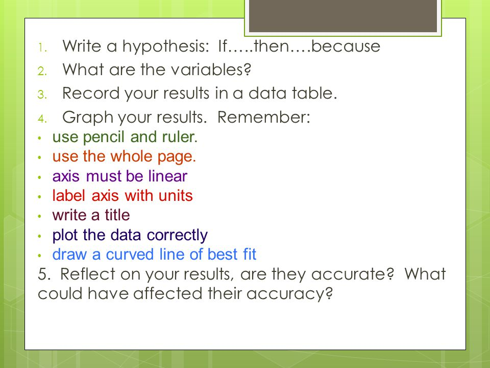 1. Write a hypothesis: If…..then….because 2. What are the variables.