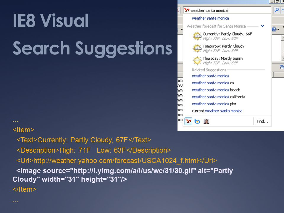IE8 Visual Search Suggestions...