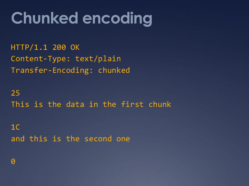 Chunked encoding HTTP/1.1 200 OK Content-Type: text/plain Transfer-Encoding: chunked 25 This is the data in the first chunk 1C and this is the second one 0