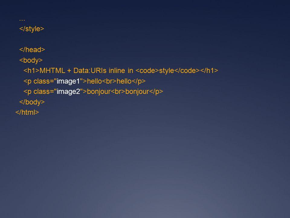 ... MHTML + Data:URIs inline in style hello hello bonjour bonjour