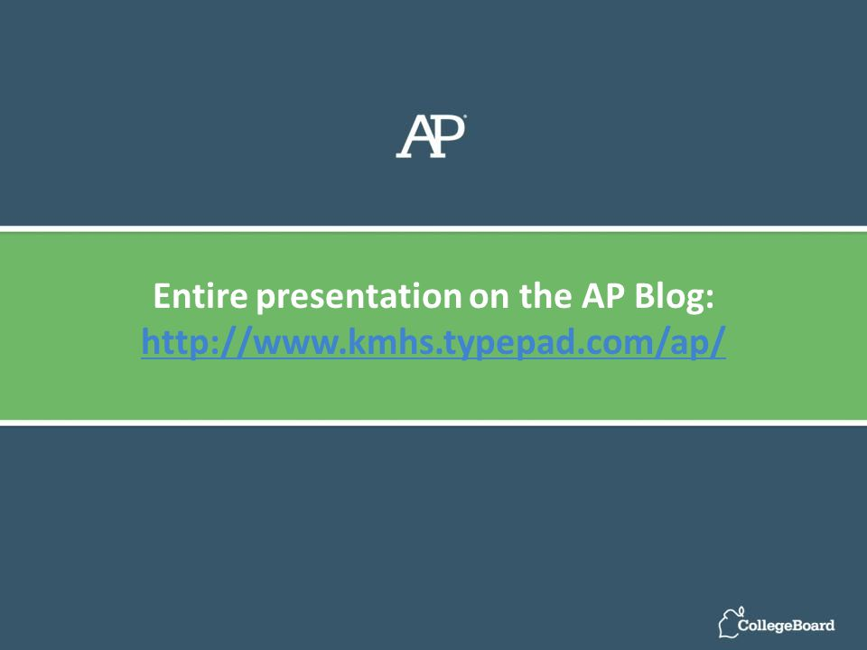Entire presentation on the AP Blog: http://www.kmhs.typepad.com/ap/ http://www.kmhs.typepad.com/ap/