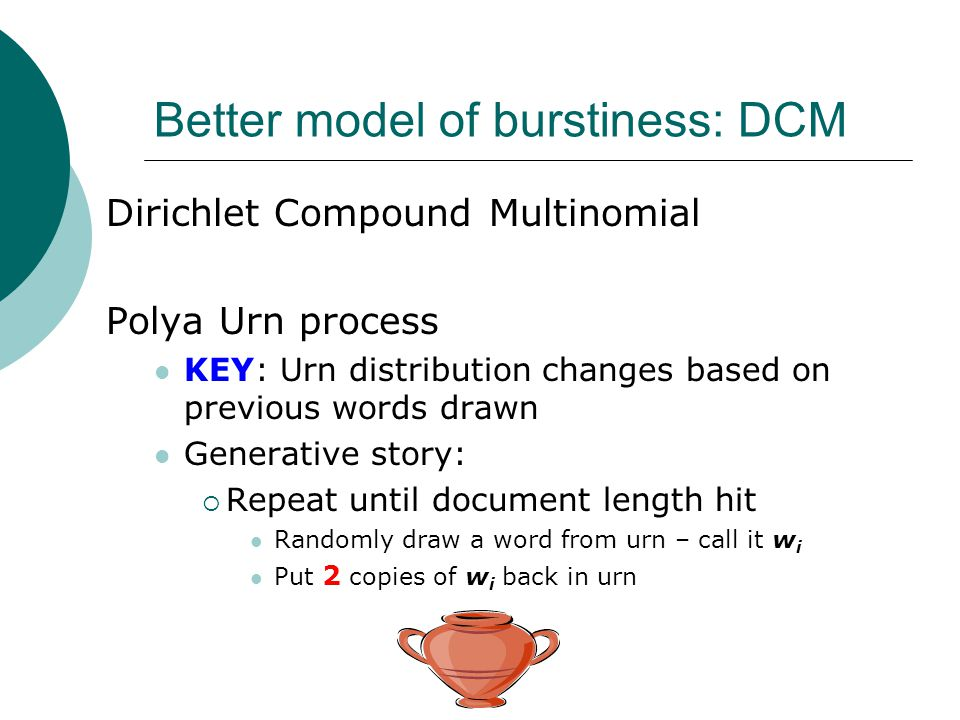 Better model of burstiness: DCM Dirichlet Compound Multinomial Polya Urn process KEY: Urn distribution changes based on previous words drawn Generativ