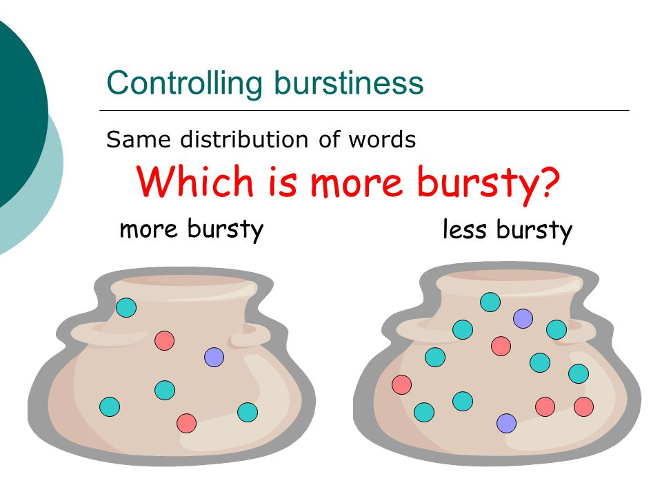Controlling burstiness Same distribution of words Which is more bursty? less bursty more bursty