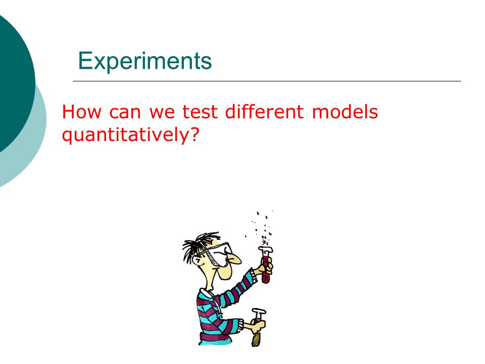 Experiments How can we test different models quantitatively?