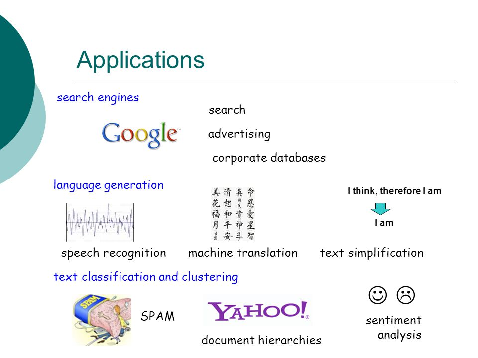 Applications search engines search advertising corporate databases language generation speech recognitionmachine translation text classification and c