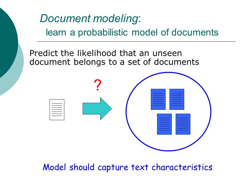 Training a document model model parameter estimation document modeltraining documents