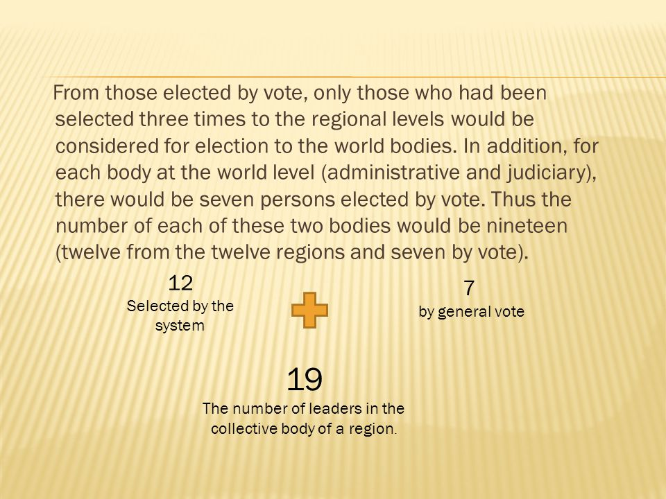 From those elected by vote, only those who had been selected three times to the regional levels would be considered for election to the world bodies.