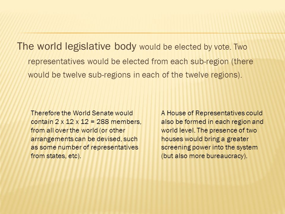 The world legislative body would be elected by vote.