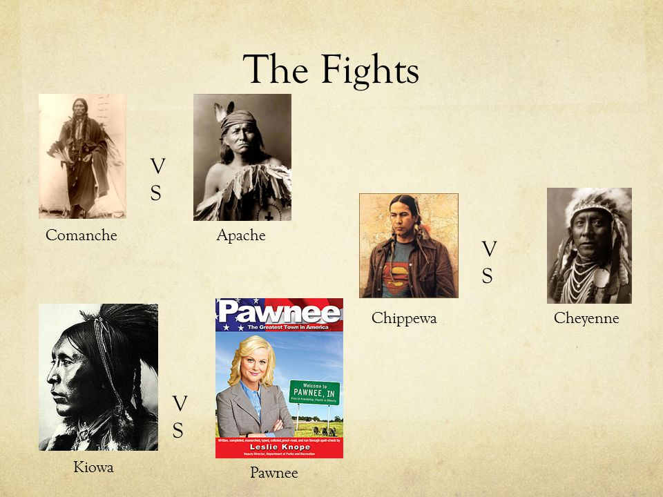 The Fights VSVS VSVS VSVS ComancheApache ChippewaCheyenne Kiowa Pawnee