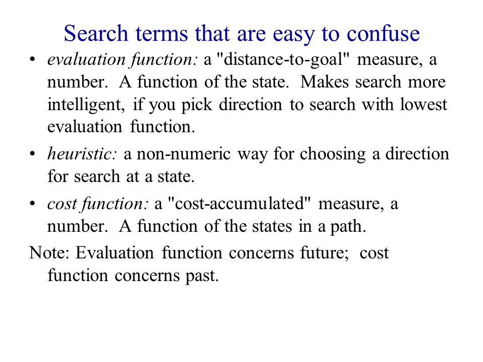 Search terms that are easy to confuse evaluation function: a distance-to-goal measure, a number.
