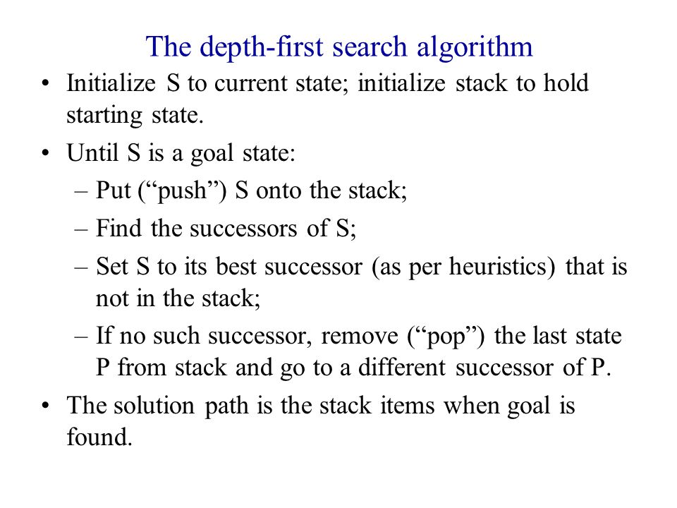 The depth-first search algorithm Initialize S to current state; initialize stack to hold starting state.