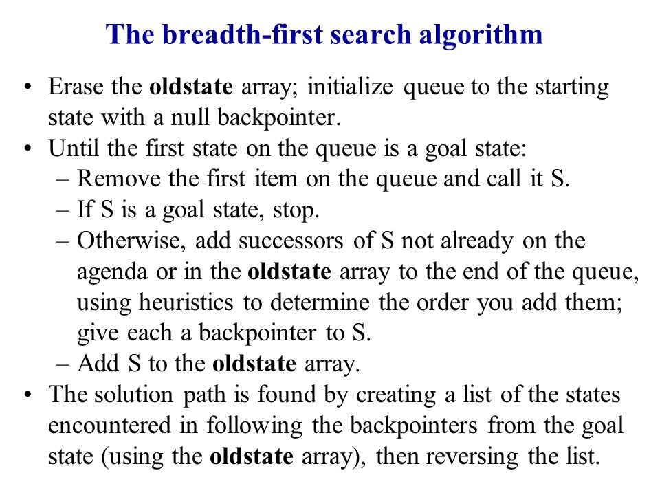 The breadth-first search algorithm Erase the oldstate array; initialize queue to the starting state with a null backpointer.