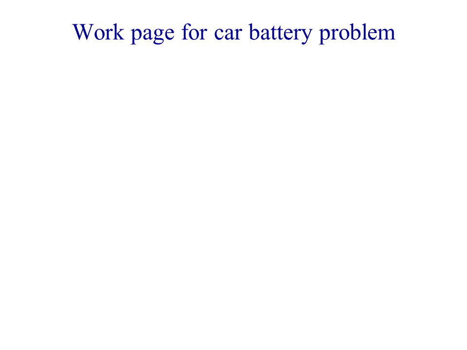 Work page for car battery problem