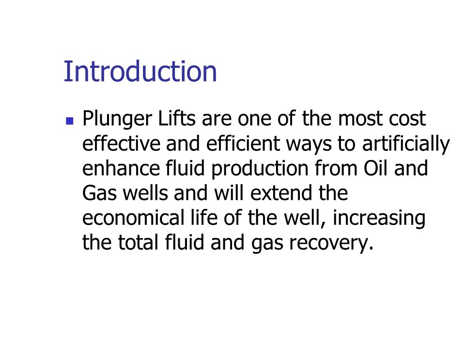 Overview Simple ways to look for well loading in the office and in the field. What makes a plunger work. Types of plunger lift equipment. Installation