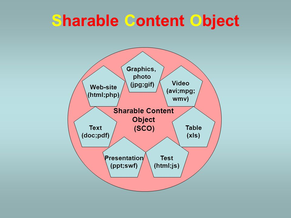 The essence of the SCORM standard is an organization of training units - lesson, topic, field or chapter - built from Internet elements – into Sharable Content Objects (SCO) –text (.doc,.pdf), –picture (.gif,.jpg), –table (.xls), –audio (.wav,.mp3), –video (.avi,.mpg), –presentation (.ppt,.swf), –test (.html,.swf,.js), –website (.html,.php) Sharable Content Object